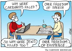 """""""-Per què els dibuixants van ser assassinats? -Per exercir la llibertat d'expressió - I per què van ser també assassinats els jueus? - Per exercir la llibertat   d'existir"""" Font: http://cartoonkronicles.com"""